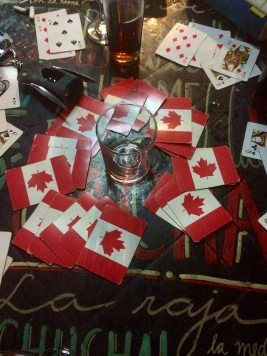 Playing cards in the hostel.